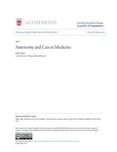 Autonomy and Care in Medicine