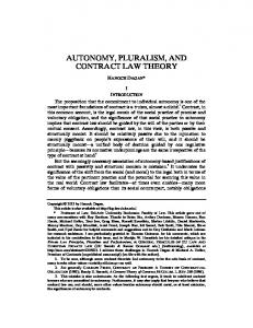 AUTONOMY, PLURALISM, AND CONTRACT LAW THEORY