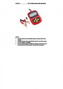 AUTOOL. BST-100 Battery System Tester User Manual