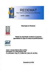 Autor: Antonio Marlon Barros Silva Orientador: Dr. Paulo Santos Assis Co-orientador: Eng. Dr. Guilherme Liziero R. da Silva
