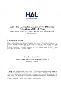Autoreloc: Automated Design Flow for Bitstream Relocation on Xilinx FPGAs