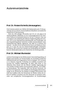 Autorenverzeichnis. Prof. Dr. Roland Schmitz (Herausgeber) Prof. Dr. Michael Burmester