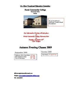 Autumn Evening Classes 2009