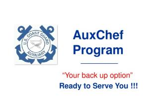 AuxChef Program. Your back up option Ready to Serve You!!!