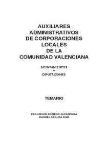AUXILIARES ADMINISTRATIVOS DE CORPORACIONES LOCALES DE LA COMUNIDAD VALENCIANA