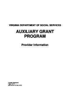 AUXILIARY GRANT PROGRAM
