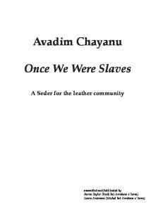 Avadim Chayanu. Once We Were Slaves