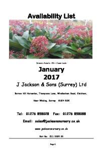Availability List. January 2017 J Jackson & Sons (Surrey) Ltd