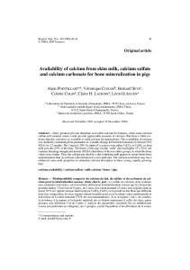 Availability of calcium from skim milk, calcium sulfate and calcium carbonate for bone mineralization in pigs