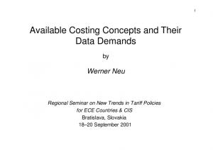 Available Costing Concepts and Their Data Demands