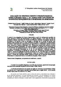 AVALIAÇÃO DO DESENVOLVIMENTO E PRODUTIVIDADE DA CANOLA