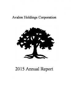 Avalon Holdings Corporation Annual Report
