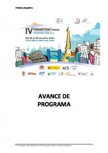 Avance programa AVANCE DE PROGRAMA. IV Congreso Internacional de Turismo para Todos- Avance programa 1