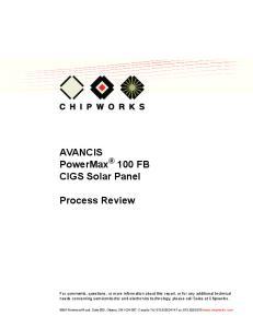 AVANCIS PowerMax 100 FB CIGS Solar Panel