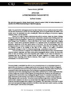 AVATAR: A POSTMODERN PAGAN MYTH