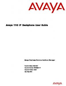 Avaya 1110 IP Deskphone User Guide. Avaya Business Communications Manager