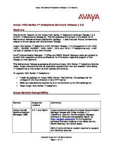 Avaya 1600 Series IP Deskphone Software Release 1.3.5