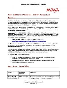 Avaya 1600 Series IP Deskphone Software Release 1.3.6