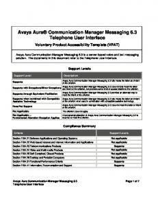 Avaya Aura Communication Manager Messaging 6.3. Telephone User Interface