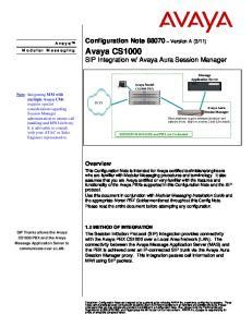 Avaya Aura Session Manager