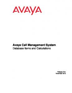 Avaya Call Management System Database Items and Calculations