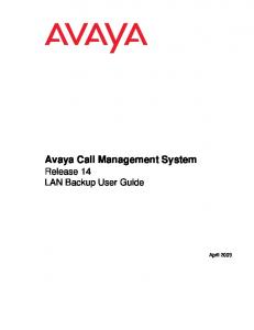 Avaya Call Management System Release 14 LAN Backup User Guide