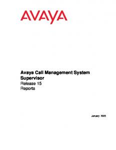 Avaya Call Management System Supervisor Release 15 Reports