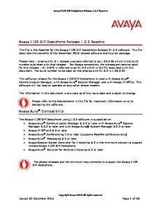 Avaya E129 SIP Deskphone Release Readme