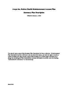 Avaya Inc. Retiree Health Reimbursement Account Plan Summary Plan Description