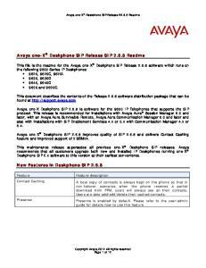 Avaya one-x Deskphone SIP Release SIP Readme