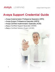Avaya Support Credential Guide