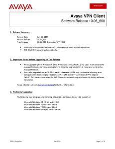 Avaya VPN Client Software Release 10.06_600