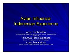 Avian Influenza: Indonesian Experience