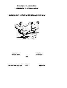 AVIAN INFLUENZA RESPONSE PLAN