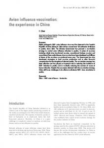 Avian influenza vaccination: the experience in China