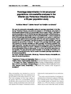 Avian Science Vol. 1 No. 1: 3 14 (2001) ISSN