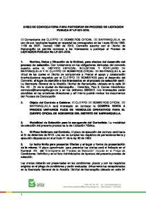 AVISO DE CONVOCATORIA PARA PARTICIPAR EN PROCESO DE LICITACION PUBLICA N LP