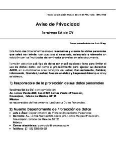 Aviso de Privacidad. Tensimex SA de CV