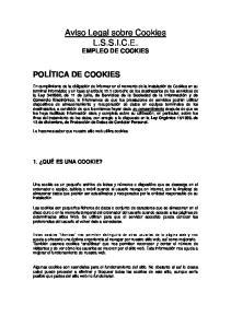Aviso Legal sobre Cookies L.S.S.I.C.E. EMPLEO DE COOKIES