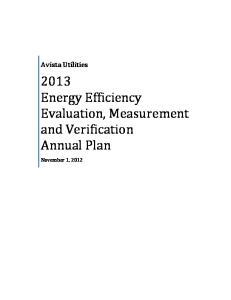 Avista Utilities Energy Efficiency Evaluation, Measurement and Verification Annual Plan