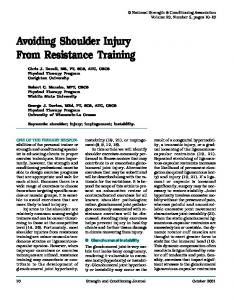 Avoiding Shoulder Injury From Resistance Training