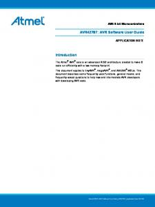 AVR42787: AVR Software User Guide. Introduction. AVR 8-bit Microcontrollers APPLICATION NOTE