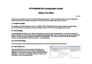 AW Configuration Guide. Before You Start