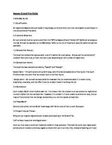 Awana Grand Prix Rules