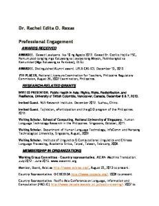 AWARDEE. Distinguished Alumni award. UPLB-CAS-ICS. December 13, 2012