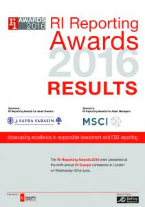 Awards RESULTS. RI Reporting. showcasing excellence in responsible investment and ESG reporting