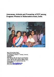 Awareness, Attitude and Prevention of HIV among Pregnant Women in Maharashtra State, India