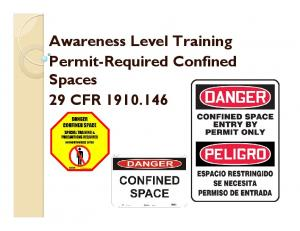 Awareness Level Training Permit-Required Confined Spaces 29 CFR
