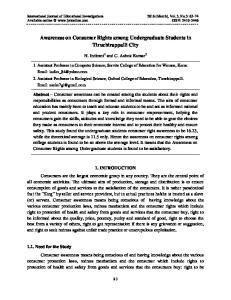 Awareness on Consumer Rights among Undergraduate Students in Tiruchirappalli City