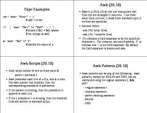 Awk (20.10) Expr Examples. Awk Scripts (20.10) Awk Patterns (20.10)